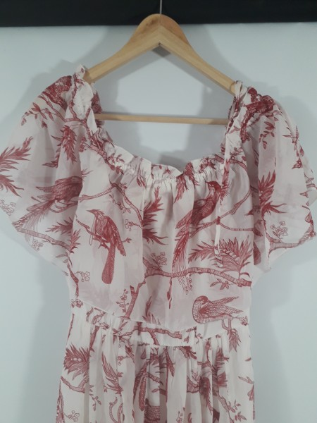 Bodyflirt Carmen-Kleid maxi, weiß/ bordaux Gr. 38   eBay